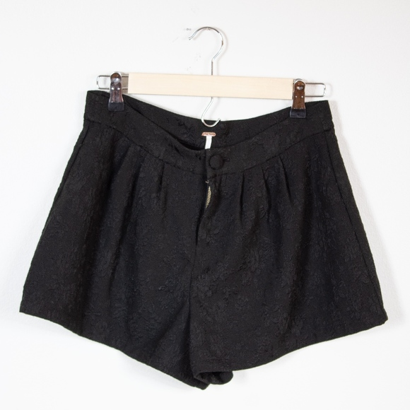 Free People Pants - Free People Black Lace Textured Shorts